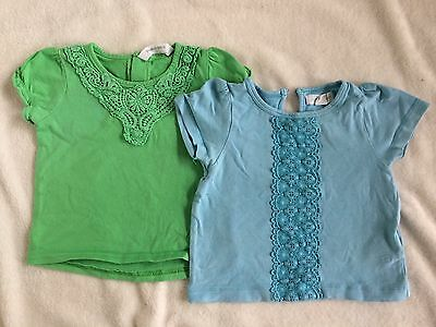 Two Pumpkin Patch Baby Girl T-shirts, Blue And Green Size 0