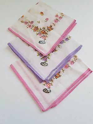 Vintage Cotton Floral Pattern  Women's  Handkerchiefs Lot of 3