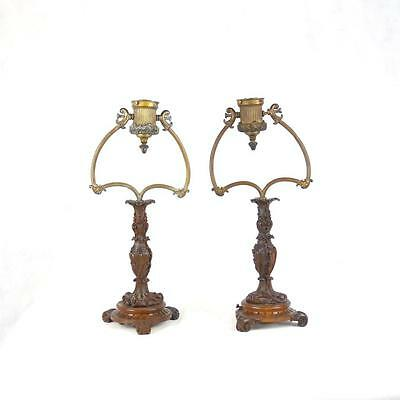 Stunning Pair Edwardian Walnut Table Lamps