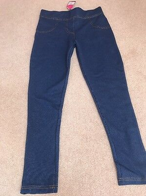 Girls Blue Denim Look Jeggings Still With Tag Age 11-12 Yrs