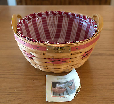Longaberger 1999 Edition Popcorn Basket Christmas Collection w Protector & Liner