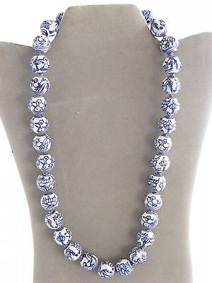 """Vintage Chinese Blue And White Porcelain Bead Necklace 24 """"  33 16mm beads"""