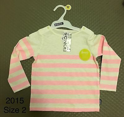 BNWT Bonds Baby Girl Long Sleeve Top Pink With White Stripe Size 2, 12-18 Months