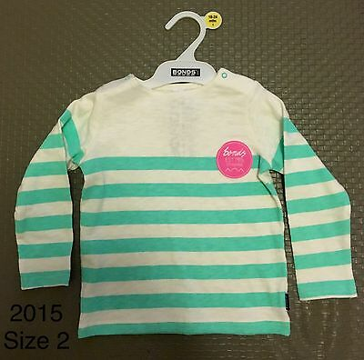 BNWT Bonds Baby Girl Long Sleeve Top Aqua and White Stripe Size 2, 12-18 Months