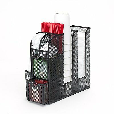 Coffee Cup Lid Condiment Caddy Orginizer Office Home Dispenser Black Metal Mesh