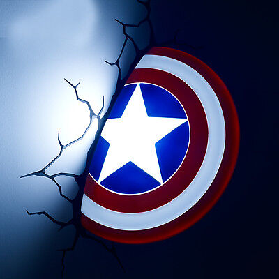Marval 3D FX Deco Led Night Light Captain America Shield Wall Mounted Design