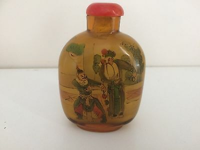 Vintage Chinese Decorated Amber Glass Snuff Bottle