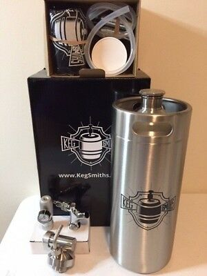 Keg Smiths 128 oz Portable Draft Keg System CO2 Regulated Stainless Steel Keg