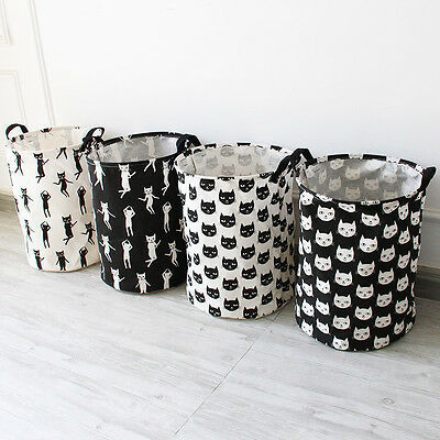 Canvas Laundry Basket Folding Clothes Toy Storage Bag White and Black Pattern
