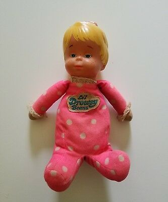 """Mattel VTG 80's Lil Drowsy Beans Baby Doll 10"""" Pink Pajamas Blond Blue eyes TOY"""