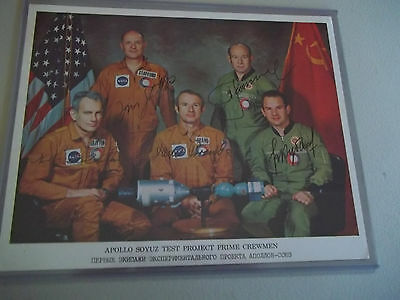 Full Apollo Soyuz Autographed (5) Crew on NASA Photo