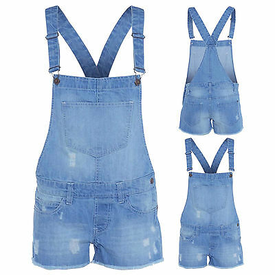 New Kids Girl's Denim Dungaree Shorts Dress Girls Jumpsuit Size Uk 7-14 Years