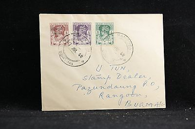 Burma: 1947 Cover to the USA, 3 Overprinted Stamps