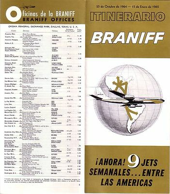 Braniff -1964 System Timetable October 25 - January 15