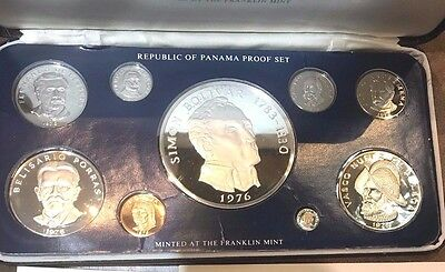 1976-Republic-of-Panama-9-Coin-SILVER-PROOF-SET-with-COA-BOX-Franklin-Mint