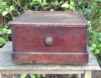 Vintage Antique Unusual Quirky Wooden Stained Pine Storage Box On Wheels
