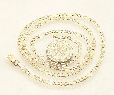 """20"""" Solid Diamond Cut Pave Figaro Chain Necklace Genuine Real 14K Yellow Gold"""