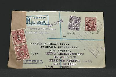 GB: 1935 Registered Cover to USA, Customs Opened, Official Seal & 10c Due