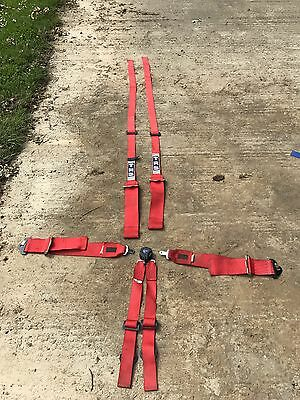 TRS 6 Point Seat Belts Harness Red Rally Race Trackday VGC