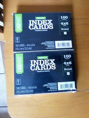 Case Mate white lined Index cards 4x6 100 count ruled