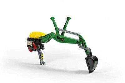 New Rolly Toys John Deere Pedal Tractor Green J Deere Back Hoe Digger Attachment