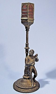 Antique Vantines Incense Burner Minstrel At Lamp Post Bronze Metal Figurine