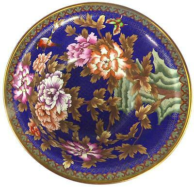 "LARGE CHINESE CLOISONNE BOWL LINGZHI BORDER FLOWERS BIRD BUTTERFLY 15"" 38cm"
