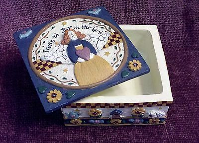 """Vintage Angel 2 Piece Trinket Box - 3D Rustic Resin - """"There is Joy in the Lord"""""""