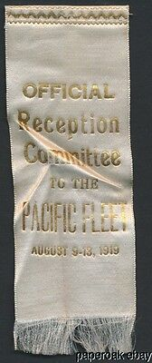 1919 Ribbon Official Reception Committee The Pacific Fleet Port Of Los Angeles