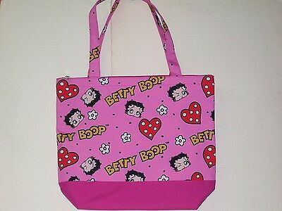 Betty Boop Face and Hearts Tote Carry Bag With Small Pouch Wallet