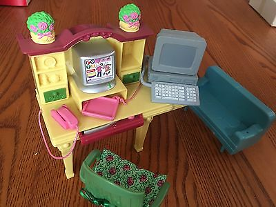 fisher price grand doll house furniture computer desk chair cute -- With Couch!
