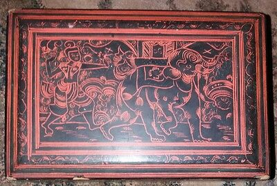 An Inscribed Antique Burmese Lacquered Box, Figurative Decoration.