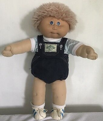 Jesmer Cabbage Patch Kid #1 HM Blond Fuzzy Hair Blue Eyes Freckles Made In Spain