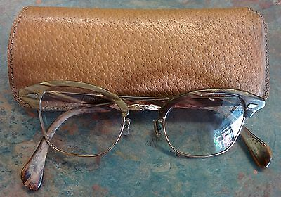 Vintage American Optical Horn Rim 5 3/4 Brown Gold Glasses 12k Gold Filled
