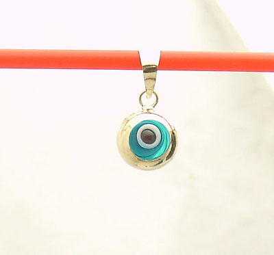 Small 3D Ocean Blue Round Evil Eye Good Luck Charm Pendant Real 14K Yellow Gold