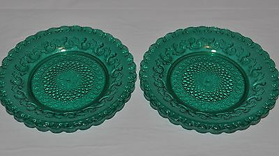 """2 Vintage Green Glass Side Plates Approx Size: 6"""""""