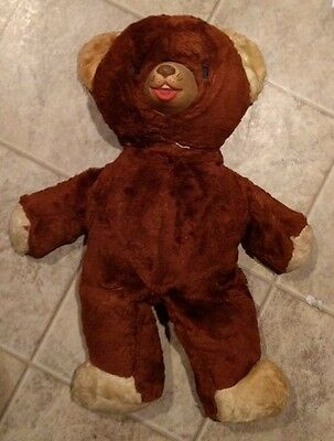 Vintage 1940's 1950's Brown Teddy Bear Rubber Snout 18""