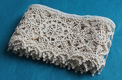 85 ins antique Italian hand made linen punto in aria lace border