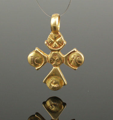 Ancient Byzantine Inscribed Gold Cross - Circa 8Th C Ad