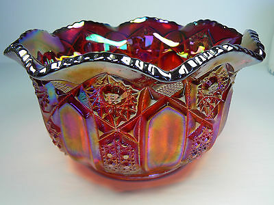 Vintage Indiana Glass Iridescent Ruby Red Heirloom Sunset Carnival Glass Scallop