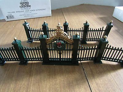 Dept 56 Village Wrought Iron Gate & Fence #5514-0 & Wrought Iron Fence Extension