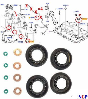 FORD, PEUGEOT FUEL INJECTOR SEAL + WASHER + ORING SET FOR 2.2 / 2.4 TDCi RWD