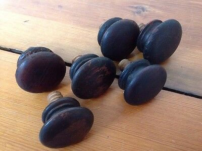 Mixed Lot 6 Antique Vintage Round Dark Wood Domed Drawer Pulls Knobs Victorian