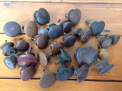 Huge Mixed Lot 27 Antique Vintage Round Dark Victorian Wood Drawer Pulls Knobs