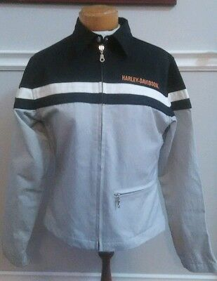 Ladies XS Harley Davidson Zippered Riding Jacket Grey w/Black Accents