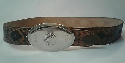 Western Tooled Leather Belt Silver Horse Buckle