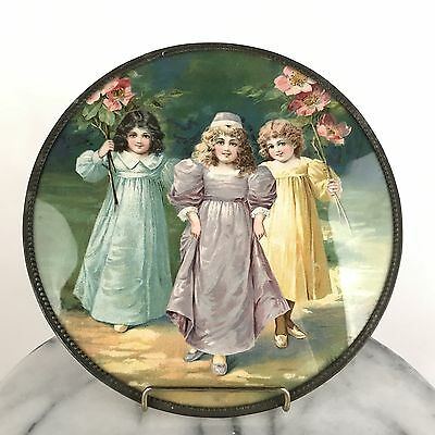 """Antique Victorian Flue Cover w/ Chain Three Lovely Girls Holding Flowers 9 1/2"""""""