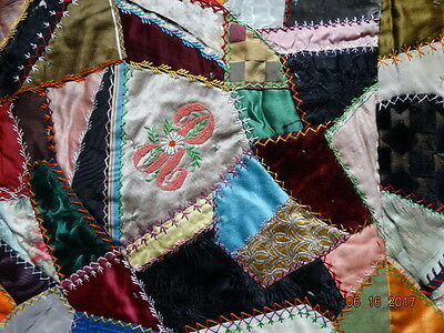 antique FOLK ART CRAZY QUILT c1890 with NAMES CATS BIRDS FLOWERS SILK sold AS IS