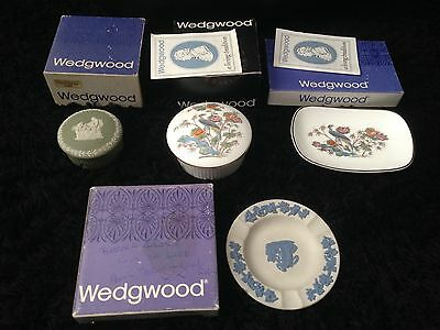 4 Of Boxed Wedgwood Boxs Plate Tray Blue White Green