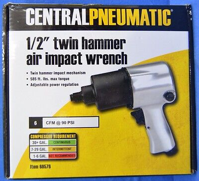 """NEW Central Pneumatic 1/2"""" Drive Twin Hammer Air Impact Wrench 69576"""